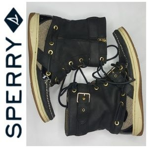 7 Sperry Topsider Boot Gold Buckle High Top Black